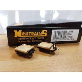 Minitrains Minitrains 3115 set van 4 smalspoor platte wagonnetjes