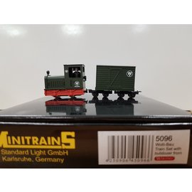 "Minitrains Minitrains 5096 Gmeinder ""Wolli Bau""narrow gauge set Diesel loco + 2 wagons + bulldozer"