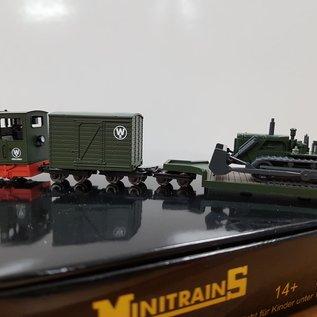 """Minitrains Minitrains 5096 Gmeinder """"Wolli Bau""""Schmalspur Set  Diesellok + 2 Wagen + Planier-Raupe"""