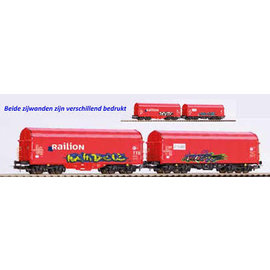 Piko Piko 58378 2er Set Schiebeplanenwagen Shimmns mit Grafitti und realistischer Alterung DC era VI (Gauge H0)
