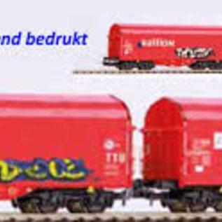Piko Piko 58378 2er Set Schiebeplanenwagen Shimmns mit Grafitti und realistischer Alterung DC Epoche VI (Spur H0)