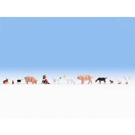 NOCH Noch 15711 Bauernhoftiere (Spur H0), 12 Figuren