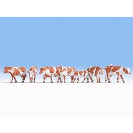 NOCH Noch 15726 Koeien, bruin-wit (Schaal H0), 7 figuren
