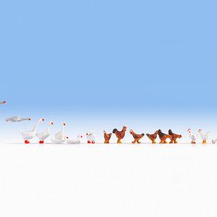 NOCH Noch 15772 Kippen en ganzen (Schaal H0), 17 figuren