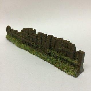 Javis Javis PF11 Bahnschwelle Zaun dunkelbraun beschädigt  (Spur H0/00, Resin), ca 13,5 cm