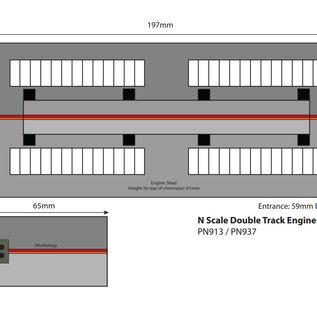 Metcalfe Metcalfe PN913 Zweiständiger Lokschuppen mit Nebengebäude (Spur N)