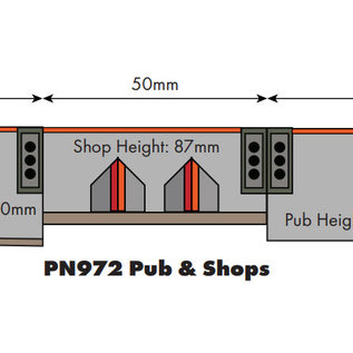 Metcalfe Metcalfe PN972 Café en winkels in halfreliëf (schaal N)