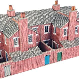 Metcalfe Metcalfe PO276 Achterzijde rijtjeshuizen in rode baksteen (Schaal H0/00, Karton)