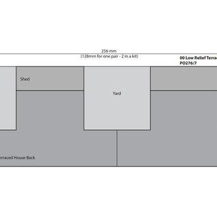 Metcalfe Metcalfe PO276 Reihenhäuser in rotem Backstein, nur Rückseiten (Halbrelief/Hintergrundmodell) (Baugröße H0/OO)