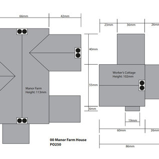 Metcalfe Metcalfe PO250 Historischer Bauernhof mit Arbeiterwohnung (Baugröße H0/OO)