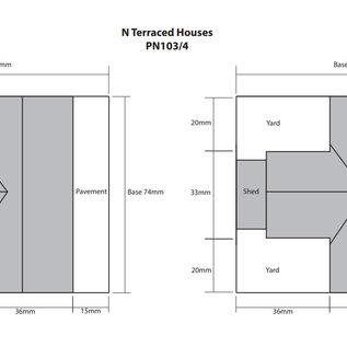 Metcalfe Metcalfe PN104 Reihenhäuser in grauem Stein (Baugröße N)
