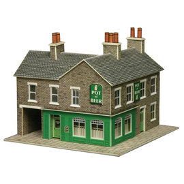 Metcalfe Metcalfe PN117 Corner Shop & Pub in Stone (N gauge)