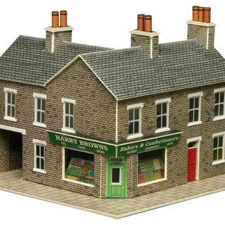 Metcalfe Metcalfe PN117 Wijkwinkel en Café in grijze steen (Schaal N)