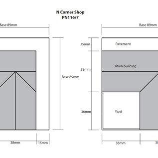 Metcalfe Metcalfe PN117 Laden auf der Ecke und Kneipe, aus grauem Stein (Baugröße N)