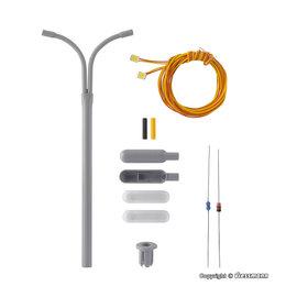 Viessmann  Viessmann 6723 Bouwkit gebogen straatlantaarn dubbel, 2 LEDs wit (schaal H0)