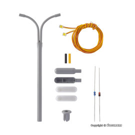 Viessmann  Viessmann 6723 Whip street light, double, 2 LEDs white, kit (Gauge H0)