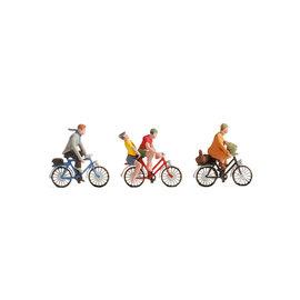 NOCH Noch 15898 Fahrradfahrer (Spur H0), 4 Figuren auf 3 Fahrräder
