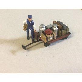 P & D Marsh Models P & D Marsh Z50 Platformwagen en kruier met koffers (Schaal H0/00)