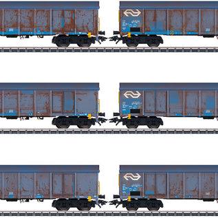 """Märklin Märklin 47189 NS Hochbordwagen-Set """"Holzhackschnitzeltransport"""" AC Epoche V (Spur H0)"""