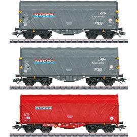 """Märklin Märklin 47224 3-part Sliding tarpaulin car set Shimmns """"NACCO"""" AC era VI (gauge H0)"""