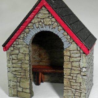 Ancorton Models Stone built bus stop, laser cut kit, H0/OO gauge