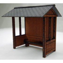 Ancorton Models Wooden built bus stop, laser cut kit, H0/OO gauge