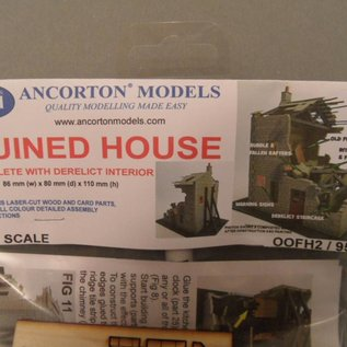 Ancorton Models Ancorton OOFH2 Ruïne van een woonhuis (Schaal H0/OO, lasercut)