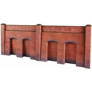 Metcalfe Metcalfe PO244 Steun-, galerijmuren in rode baksteen (Schaal H0/00, Karton)