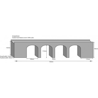 Metcalfe Metcalfe PO240 Zweigleisiges Viadukt in rotem Backstein (Baugröße H0/OO)