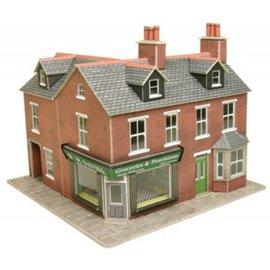 Metcalfe Metcalfe PO263 Wijkwinkel op de hoek in rode baksteen (Schaal H0/00, Karton)
