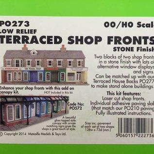 Metcalfe Metcalfe PO273 Kleine Läden in grauem Stein, nur Vorderseiten (Halbrelief/Hintergrundmodell) (Baugröße H0/OO)