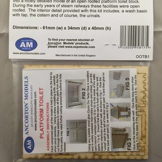 Ancorton Models Platform toilet block, (open roof), laser cut kit, OO/HO gauge
