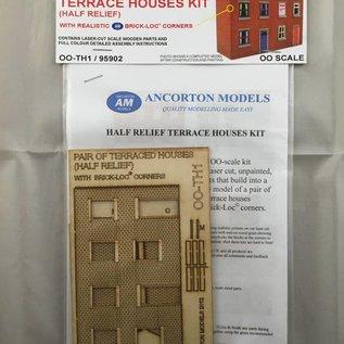 Ancorton Models Terraced houses, half relief, laser cut kit, H0/OO gauge