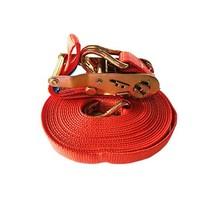 Spanband met ratel, 25 mm, 700 cm, rood