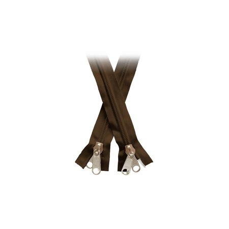 YKK Rits Dubbel Deelbaar met 2 runners / grijpplaten Bruin