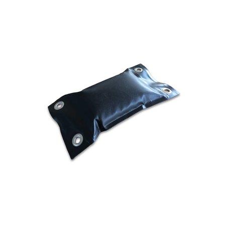 Zandzak 1 kg mat zwart PVC doek met 4 RVS DIN 12 zeilkousen. De naden zijn hoogfrequent gelast en waterdicht. Afmetingen 15 x 27 cm.