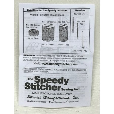 Speedy Stitcher Kit #110. De enige echte Speedy Stitcher Kit by Stewart Manufactured in the USA. De Kit bestaat uit de Speedy Sticher, 2 x  grote naald, 2 x kromme naald, 1 x Coarse # 150 garen, 1 x voorgevulde spoel. Voordeelset! No.110 Speedy Stitcher S