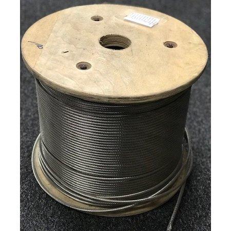 Marinetech Staalkabel / staaldraad  6 mm RVS AISI 316 RHL. Constructie: 1 x 19.  Treksterkte 1570 N/mm2. Prijs per meter