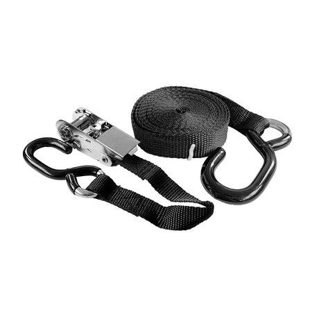 Marinetech Spanband met RVS ratel. Zwart polyesterband 25 mm x 450 cm