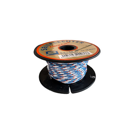 Seilflechter Touw Minicord Novoleen dikte 2 mm op spoel 10 m Wit-Blauw