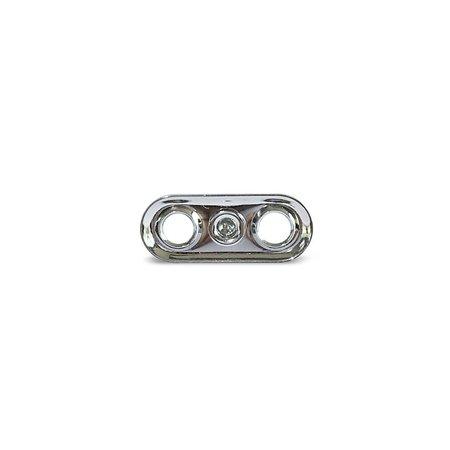 Loxx (Tenax) Duits plaat Koper-Verchroomd Origineel. Lengte: 27 mm, Breedte: 11 mm, Hartmaat gaten: 15,1 mm.