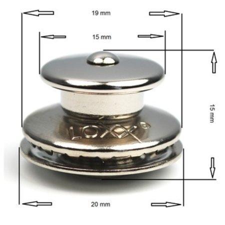 Loxx (Tenax) Duits kop Koper-Vernikkeld 15 mm Orgineel! Made in Germany.