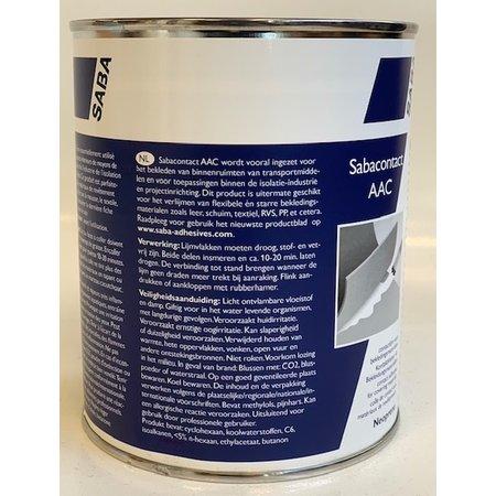 SABA Adhesives AAC 1 Liter. Contactlijm voor bekledingsmaterialen. Voor het verlijmen van flexibele en starre bekledingsmaterialen, zoals leer, schuim, textiel, RVS, PP etcetera.