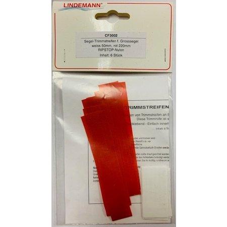 Lindemann Tell-Tale voor grootzeil  (verpakking 6 stuks) rood Ribstop nylon 220 mm