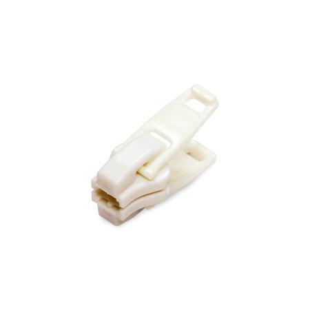 YKK Runner / Schuiver Wit voor 10 mm YKK Rits Bloktand met 2 grijpplaten