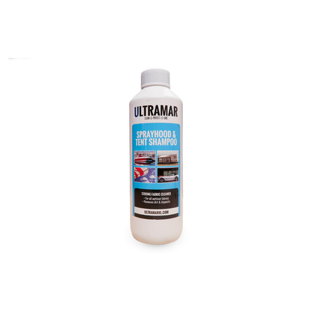 Ultramar Sprayhood & Tent Shampoo 0,5  liter. De fles wordt zonder sproeikop geleverd.