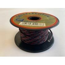Touw Minicord Novoleen dikte 2 mm op spoel 10 m Zwart-Rood-Blauw