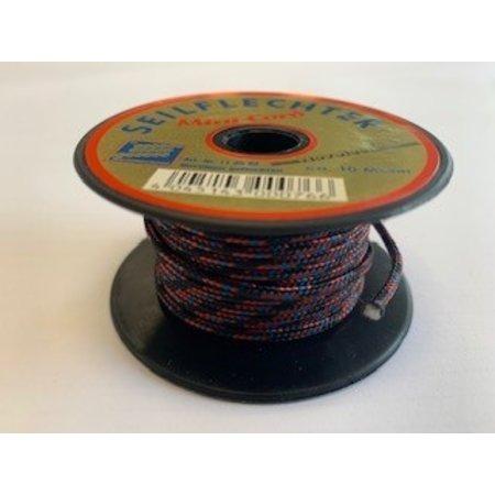 Seilflechter Touw Minicord Novoleen dikte 2 mm op spoel 10 m Zwart-Rood-Blauw