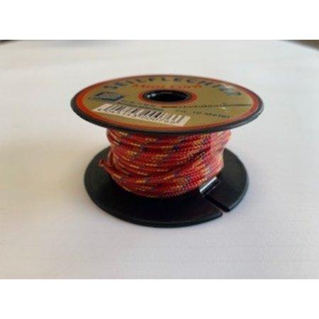 Seilflechter Touw Minicord Novoleen dikte 2 mm op spoel 10 m Rood-Geel-Blauw