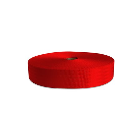 Veiligheidsgordelband / autogordelband Rood 48 mm rol 100 meter. 11-baans geweven.